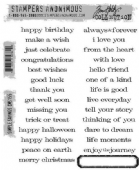 Stampers Anonymous/Tim Holtz - Cling Mount Stamp Set - Simple Sayings - CMS155